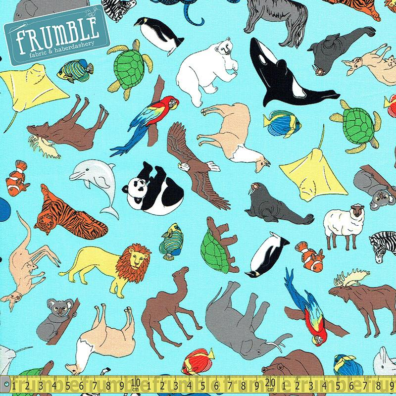 We Share One World Animals Aqua - Frumble Fabrics