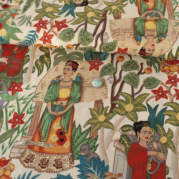 Fridas Garden Tea Fabric by Alexander Henry