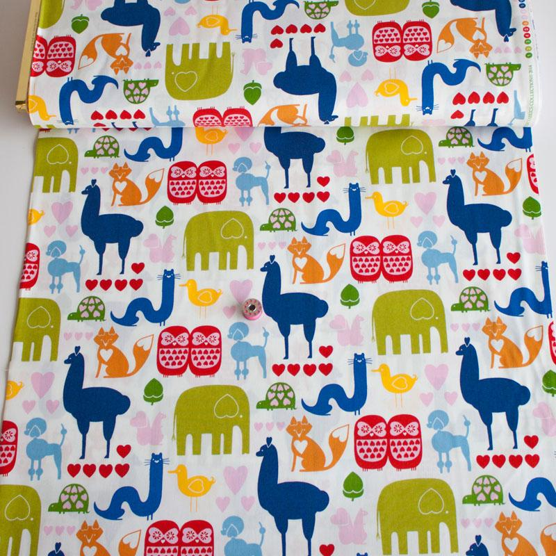 I Heart Animals Primary Fabric by Alexander Henry