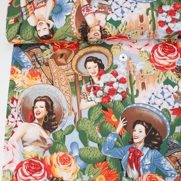 Las Senoritas Bright Fabric by Alexander Henry