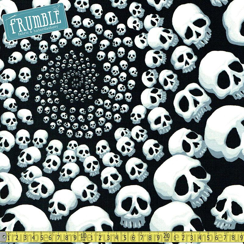 Skullfinity Black/White Fabric by Alexander Henry