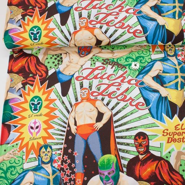 Super Lucha Libre Natural Fabric by Alexander Henry