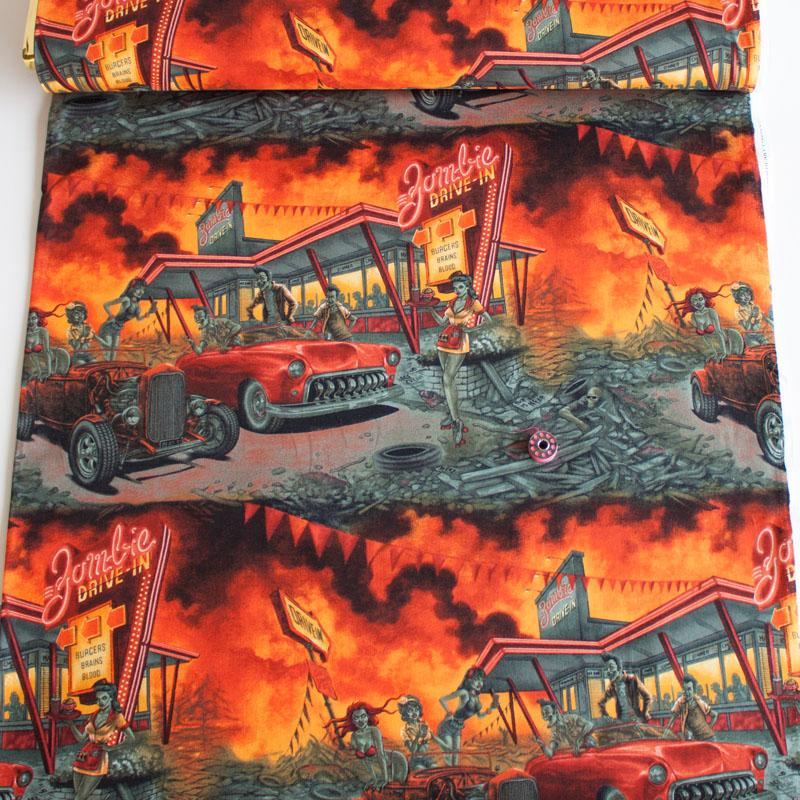Zombie Drive-In Apocalypse Fabric by Alexander Henry