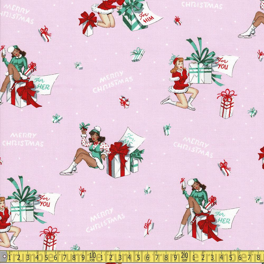 Alexander Henry Christmas Time For You Pink Sewing Fabric Frumble Fabrics
