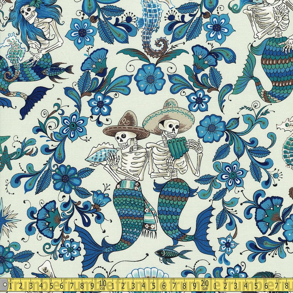 Alexander Henry - Folklorico - Esqueletos Del Mar Light Blue Sewing Fabric
