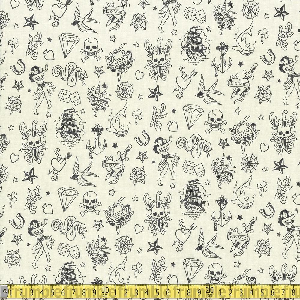 Alexander Henry - Nicoles Prints - Ink Work Tea Black Sewing Fabric