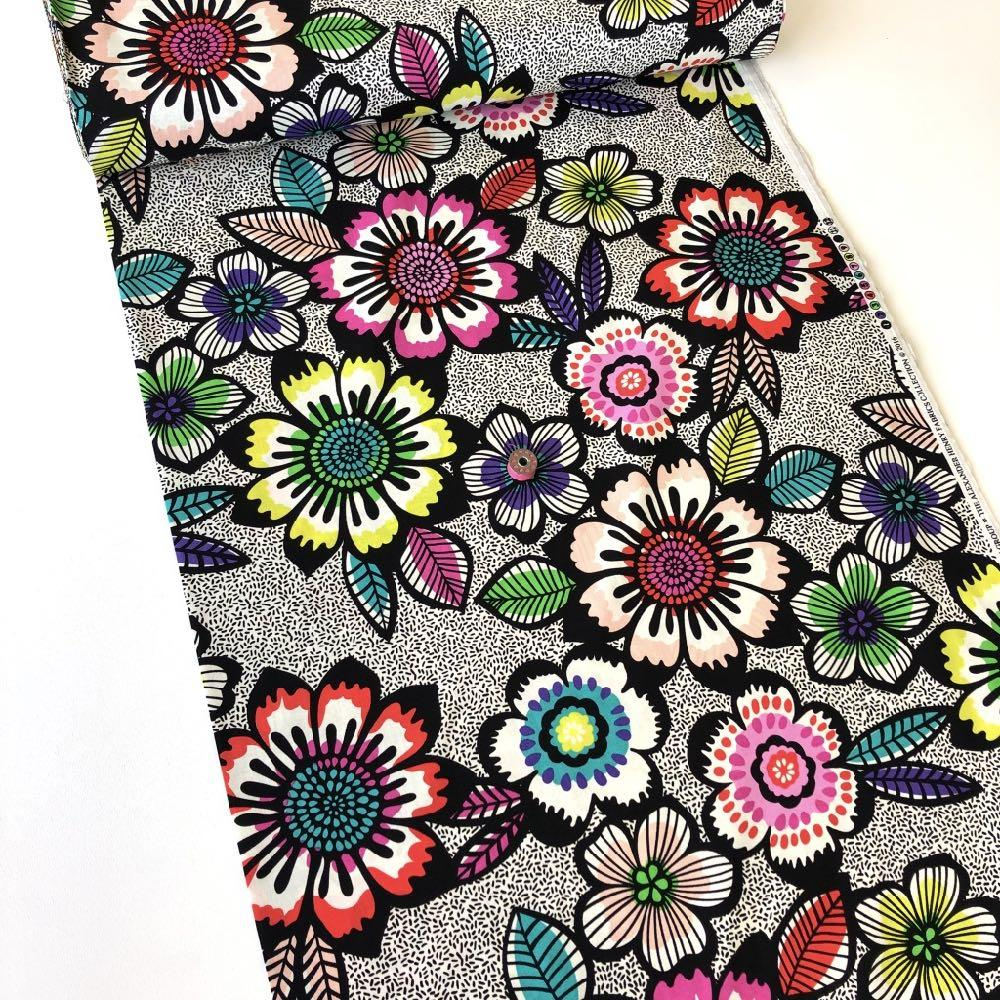 Acapulco Black Bright Fabric by Alexander Henry