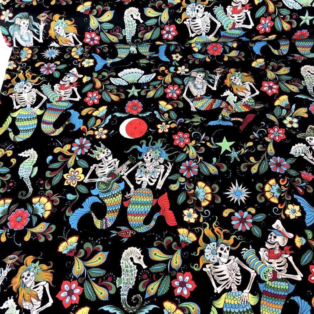 Esqueletos Del Mar Black-Multi - Frumble Fabrics