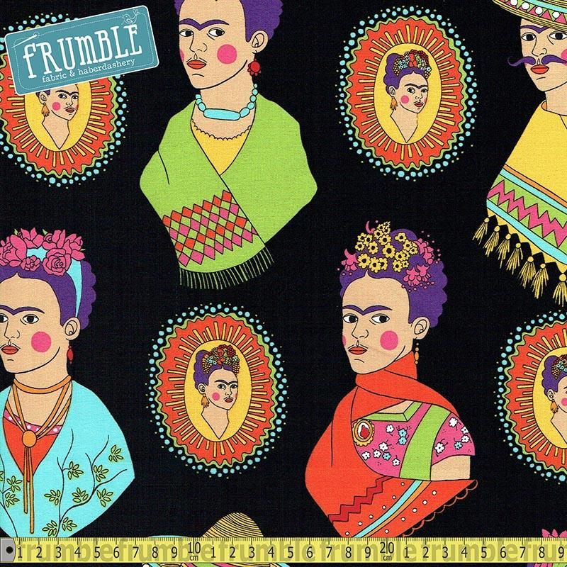 Fantastico Frida Black Fabric by Alexander Henry