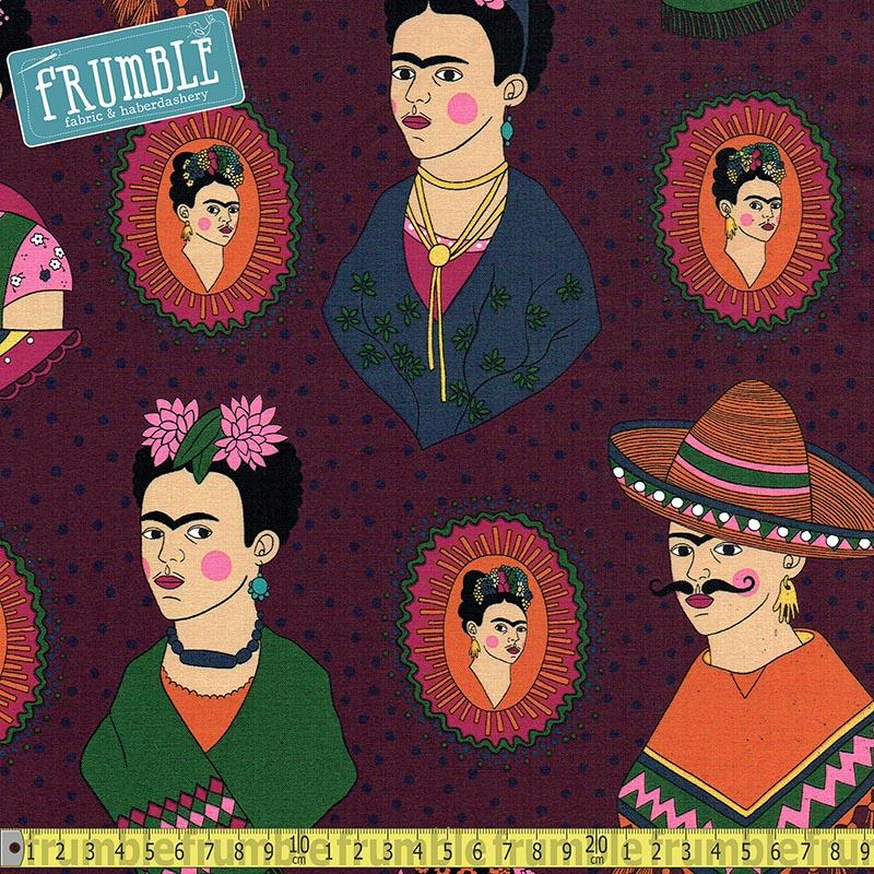 Fantastico Frida Eggplant Fabric by Alexander Henry