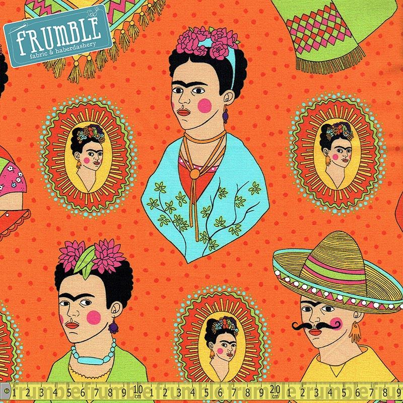 Fantastico Frida Orange Fabric by Alexander Henry