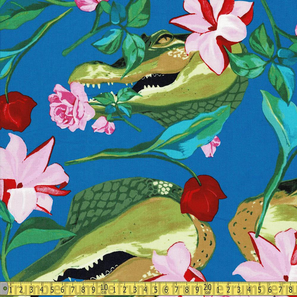 Grins And Roses Blue - Frumble Fabrics
