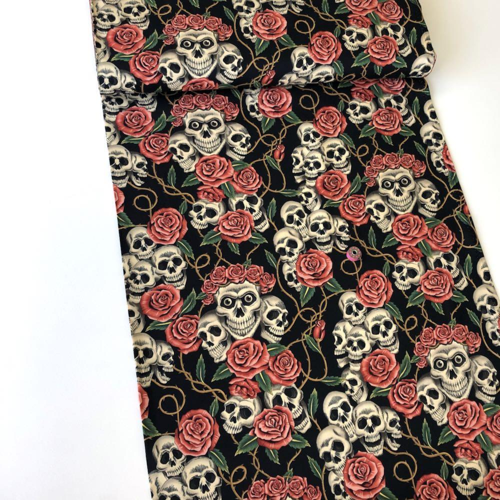 The Rose Tattoo Black Tea Fabric by Alexander Henry