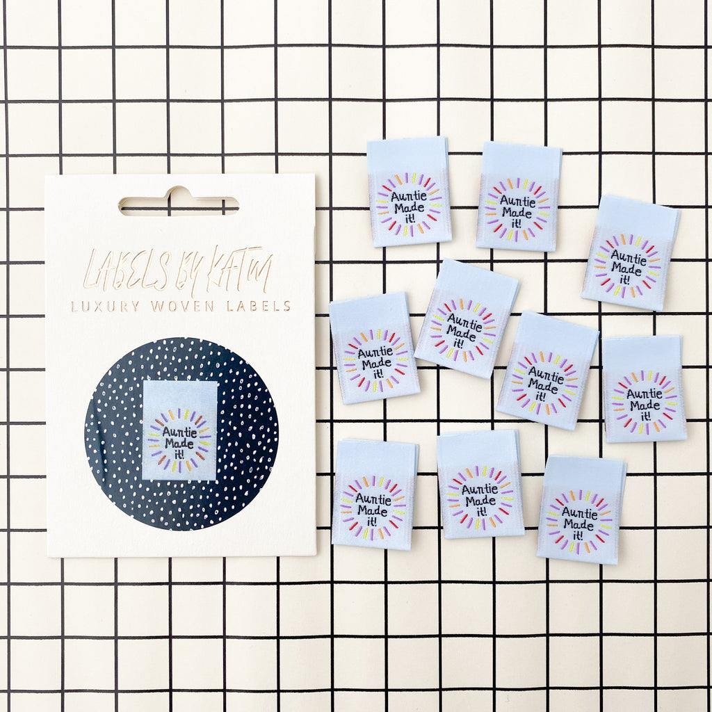 10 x Woven Labels - KATM Kylie And The Machine - Auntie Made It!