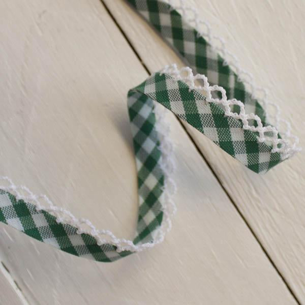 Woven Gingham Lace Edge Bias Binding 5 metres - Frumble Fabrics