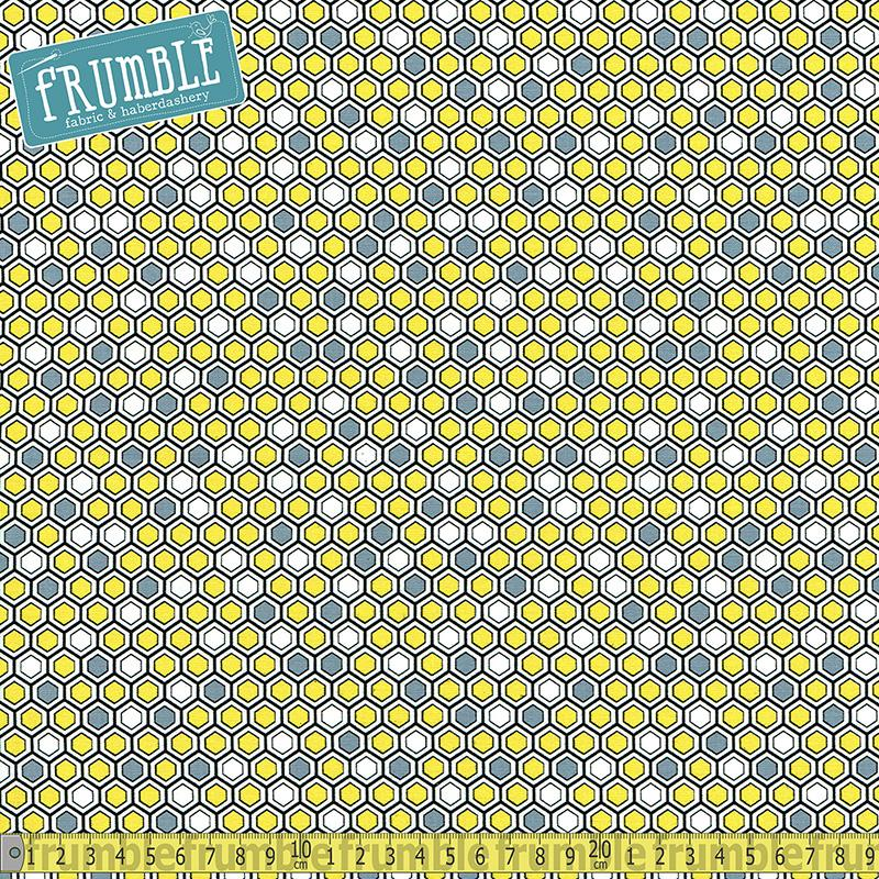 Bumble Honeycomb Geo Yellow/Grey - Frumble Fabrics
