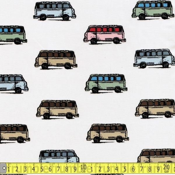 Vintage Scrapbook Mini Vans Tan Fabric by Benartex