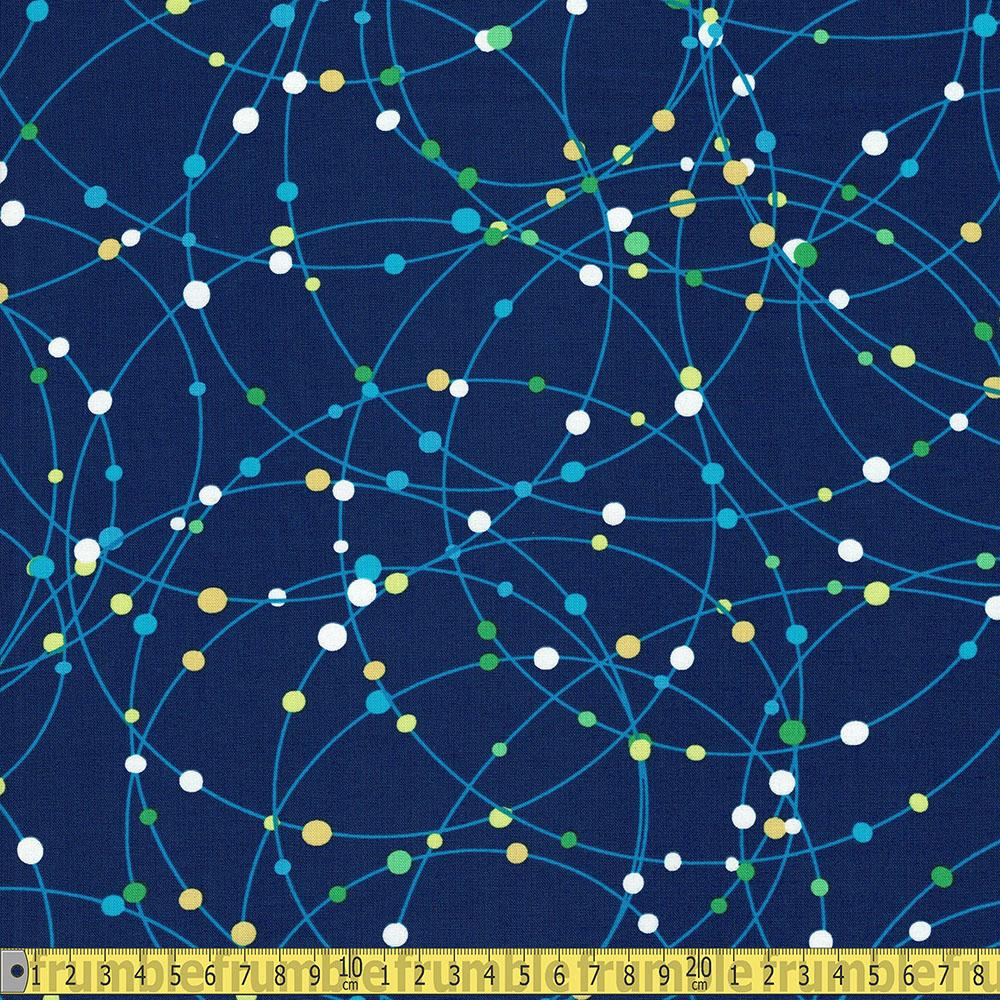 Benartex Kanvas - All Systems Glow - Galaxy Dots Dark Royal Sewing Fabric