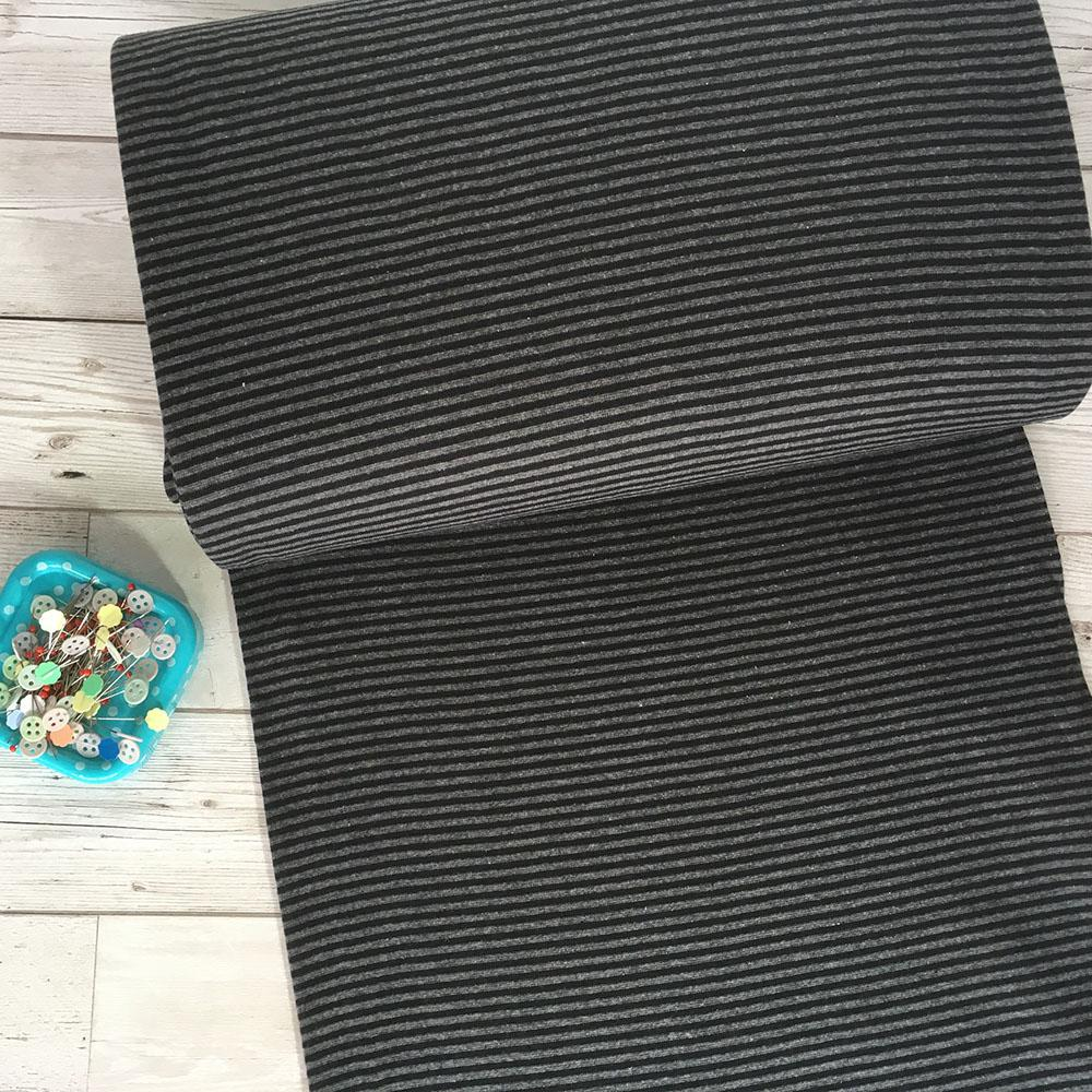 Dark Grey Black Stripe Cotton Ribbing Tube - Frumble Fabrics