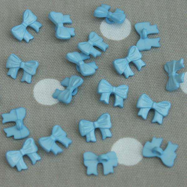 Bow Sewing Buttons - Light Blue 10 pack