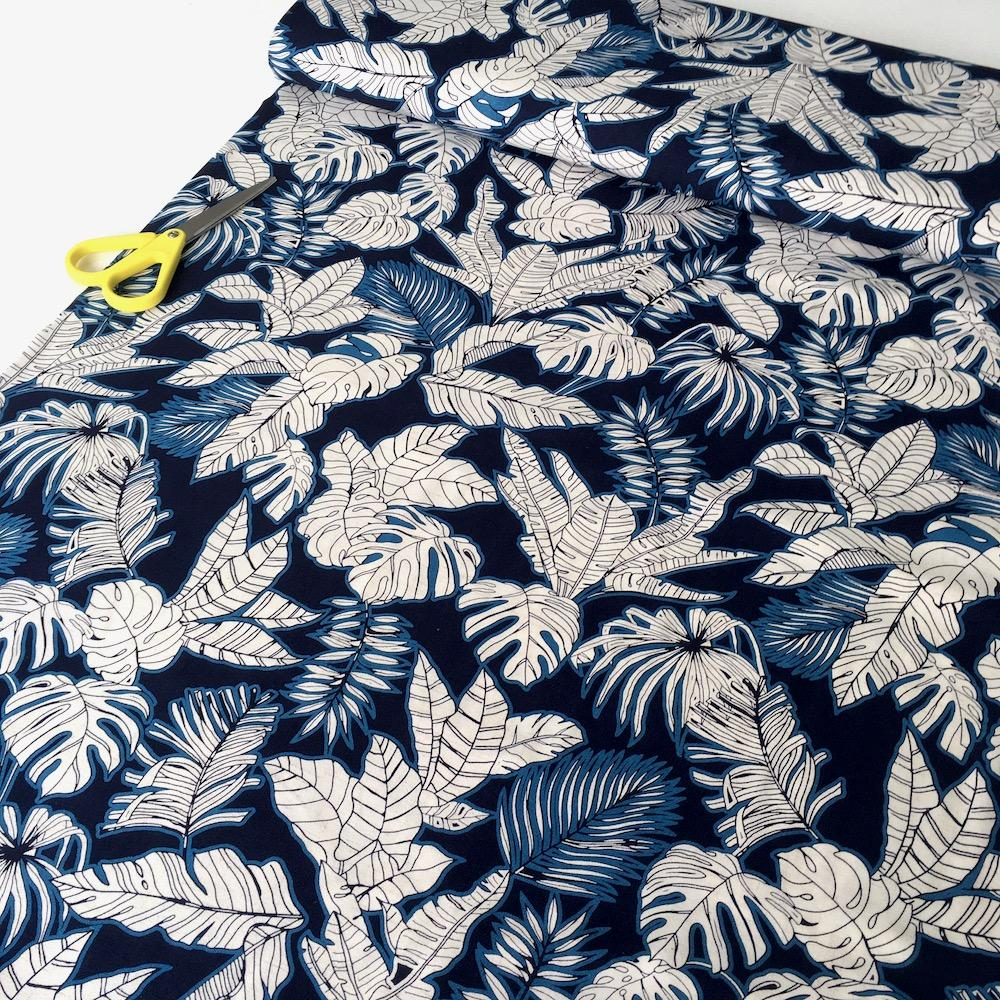 Tropical Foliage Linen Viscose in Blue Navy - Frumble Fabrics