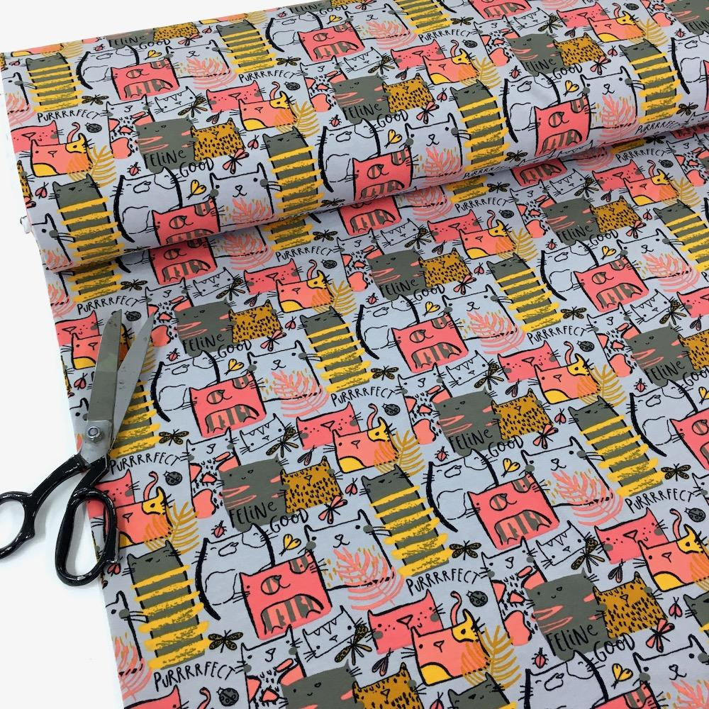 By Poppy - Printed French Terry - Feline Good Cats Grey Dressmaking Fabric