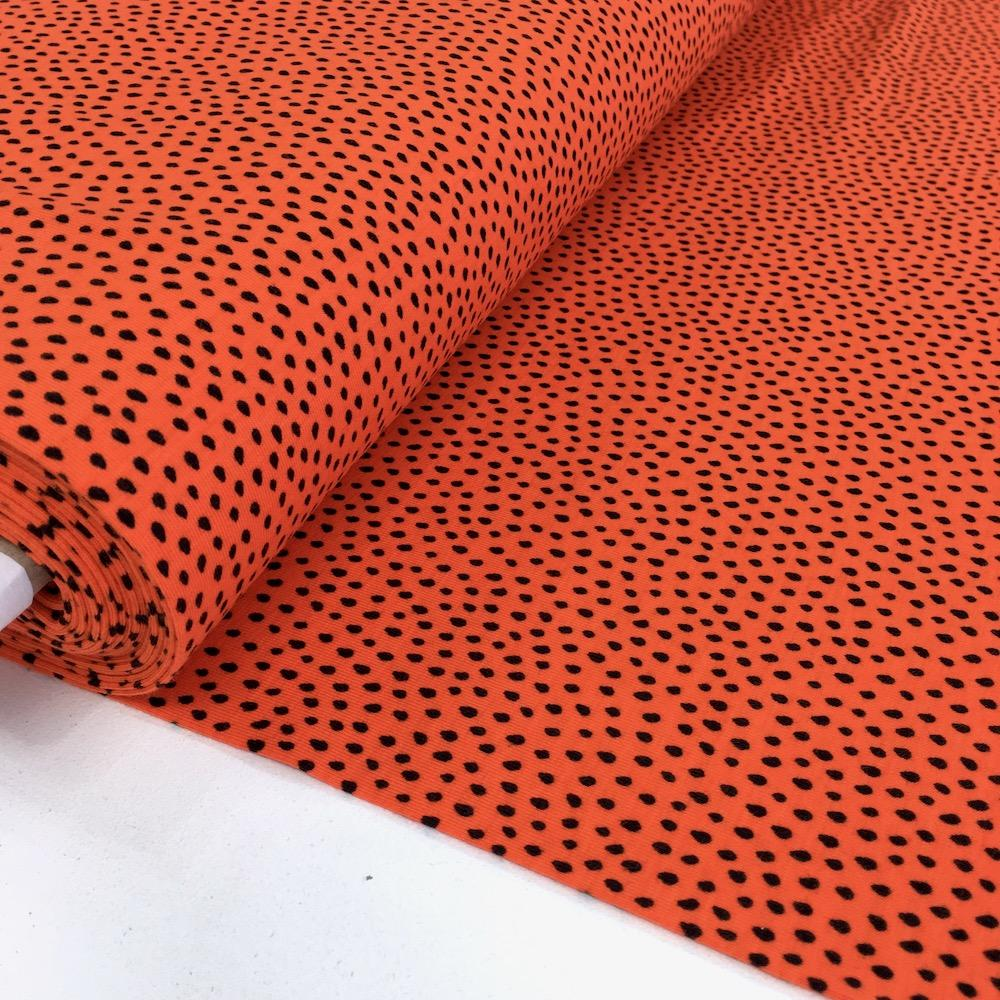 Dotty Raindrops Printed Jersey Dots Clementine Fabric by By Poppy