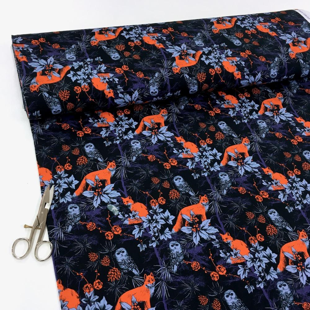 Forest By Night Fox Digital Jersey Dark Navy - Frumble Fabrics