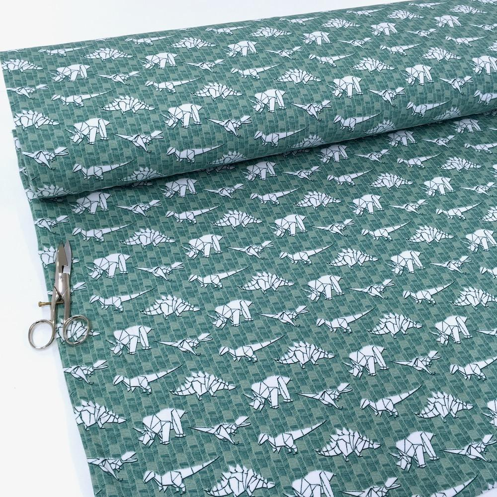 Organic Paper Dinosaurs Softsweat Green Fabric by By Poppy