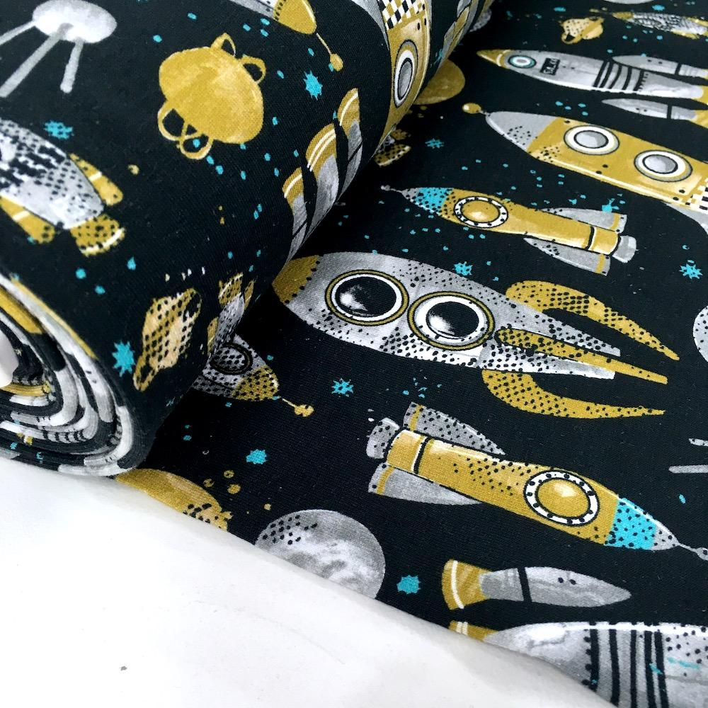 Rocket Science Digital French Terry in Black - Frumble Fabrics