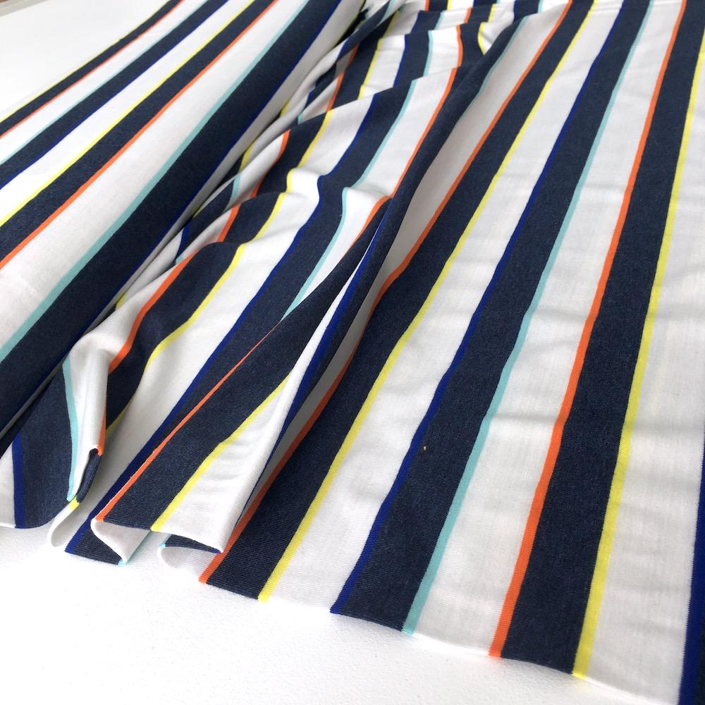 Yarn Dyed Stripes Jersey in Rainbow Navy - Frumble Fabrics