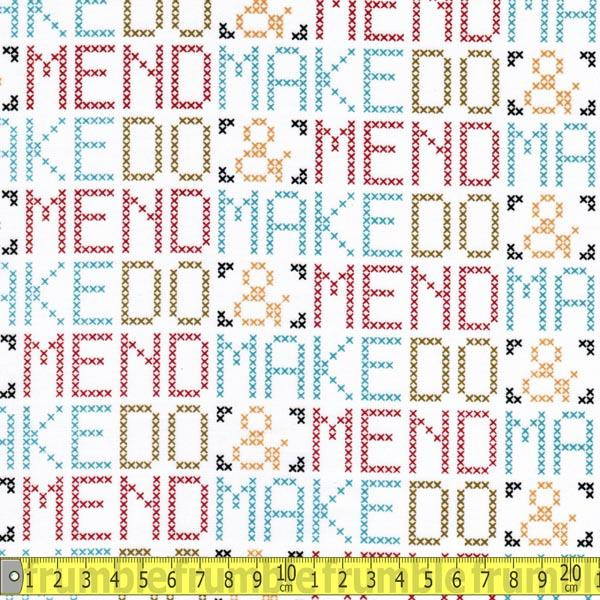 Mad Mend Betty Cross Stitch Words Fabric by Cloud 9 Fabrics