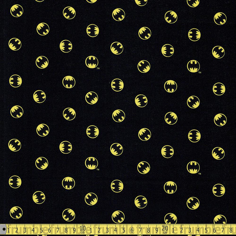 Camelot - Licensed Cottons - DC Batmam Small Logo Black Sewing Fabric