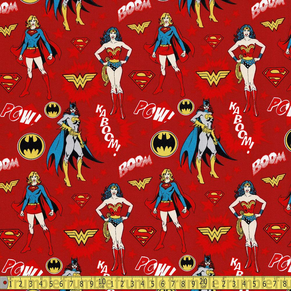 Camelot - Licensed Cottons - DC Girl Power Red Sewing Fabric