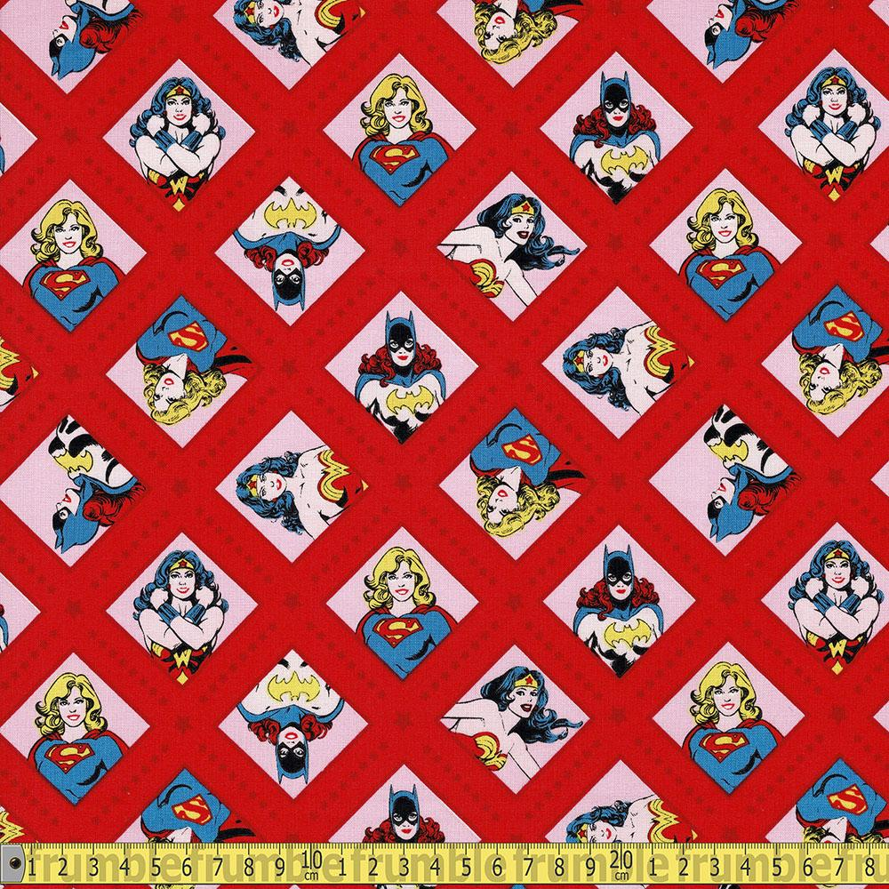 Camelot - Licensed Cottons - DC Super Women Red Sewing Fabric