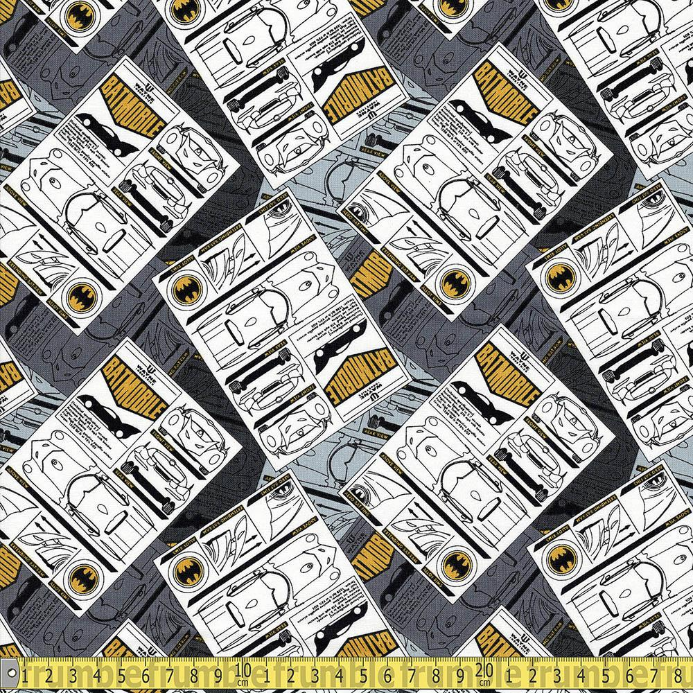 Batman 80 Anniversary Collage Batmobile Grey Fabric by Camelot