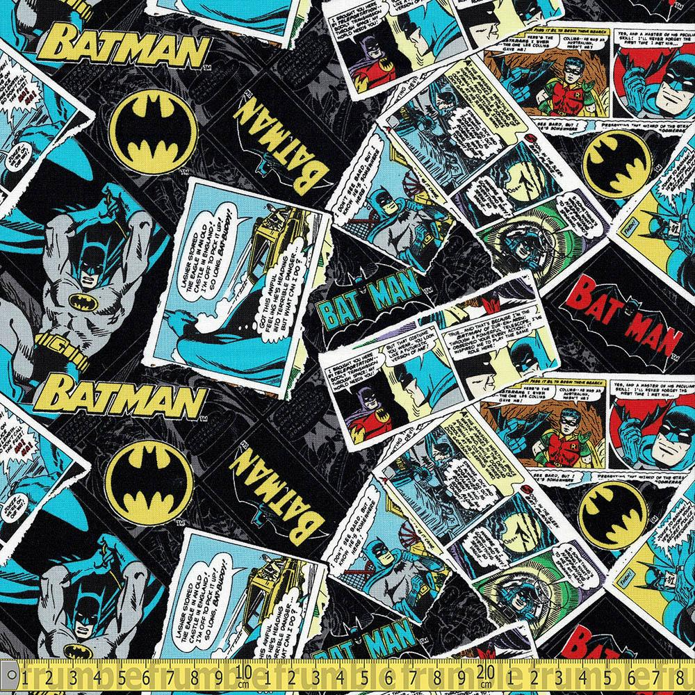 Batman 80 Anniversary Collage Black Fabric by Camelot