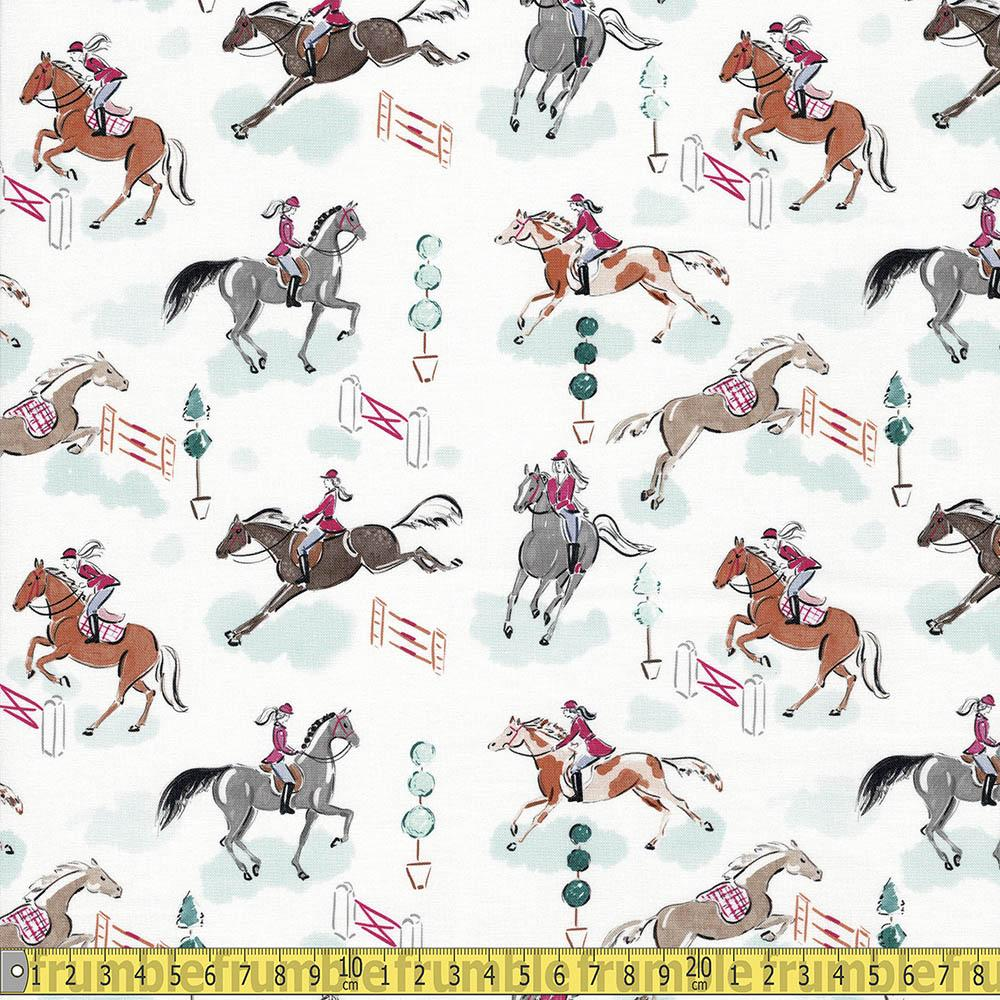 Best In Show Horses White Fabric by Camelot
