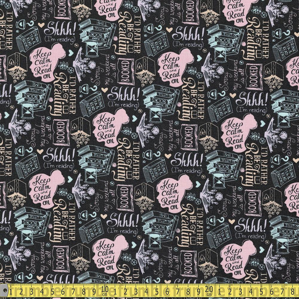 Camelot Fabric - Literary - Rather Be Reading Charcoal Sewing and Dressmaking Fabric