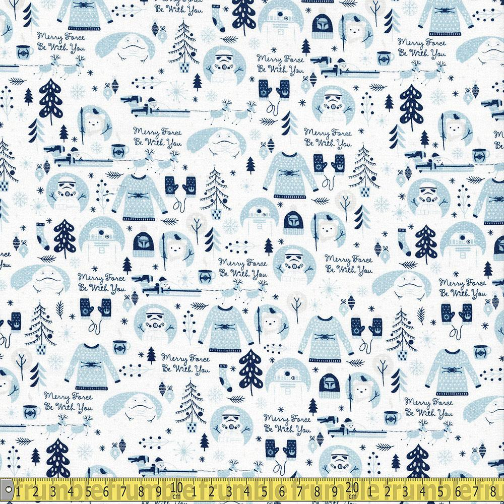 Camelot Fabrics - Licensed Christmas - Star Wars Merry Force Be With You Blue Sewing Fabric