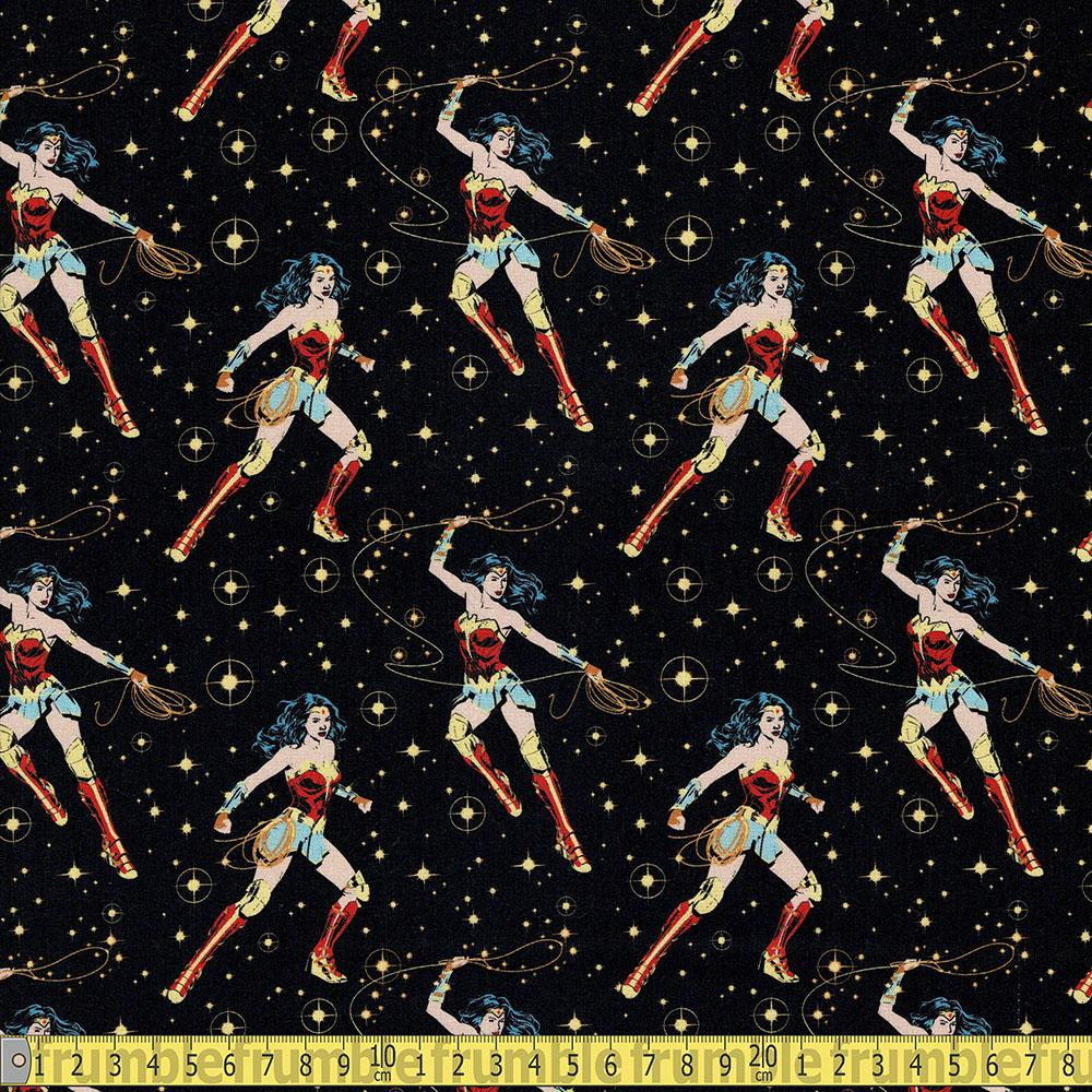 Camelot Fabrics - Wonder Woman 1984 - WW44 Poses Black Sewing Fabric