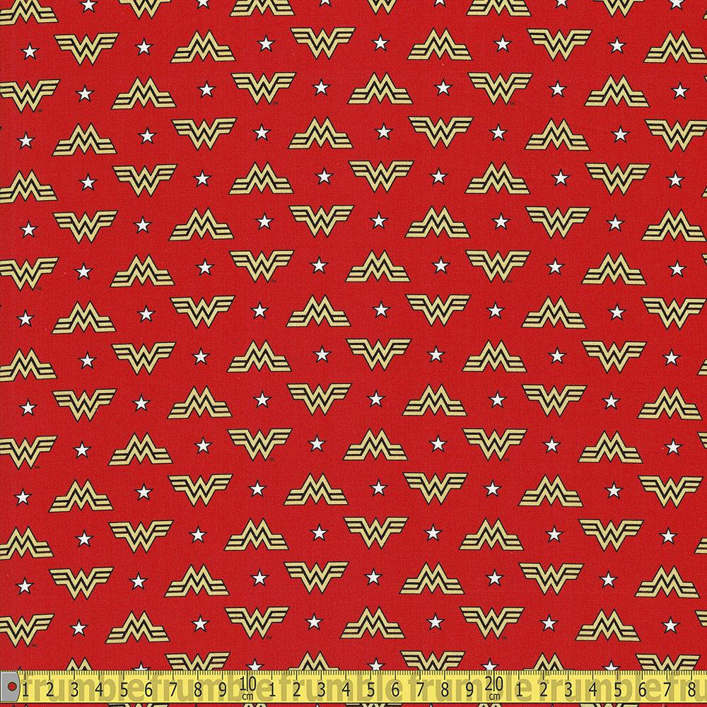 Camelot Fabrics - Wonder Woman 1984 - WW84 Logo and Stars Red Sewing Fabric