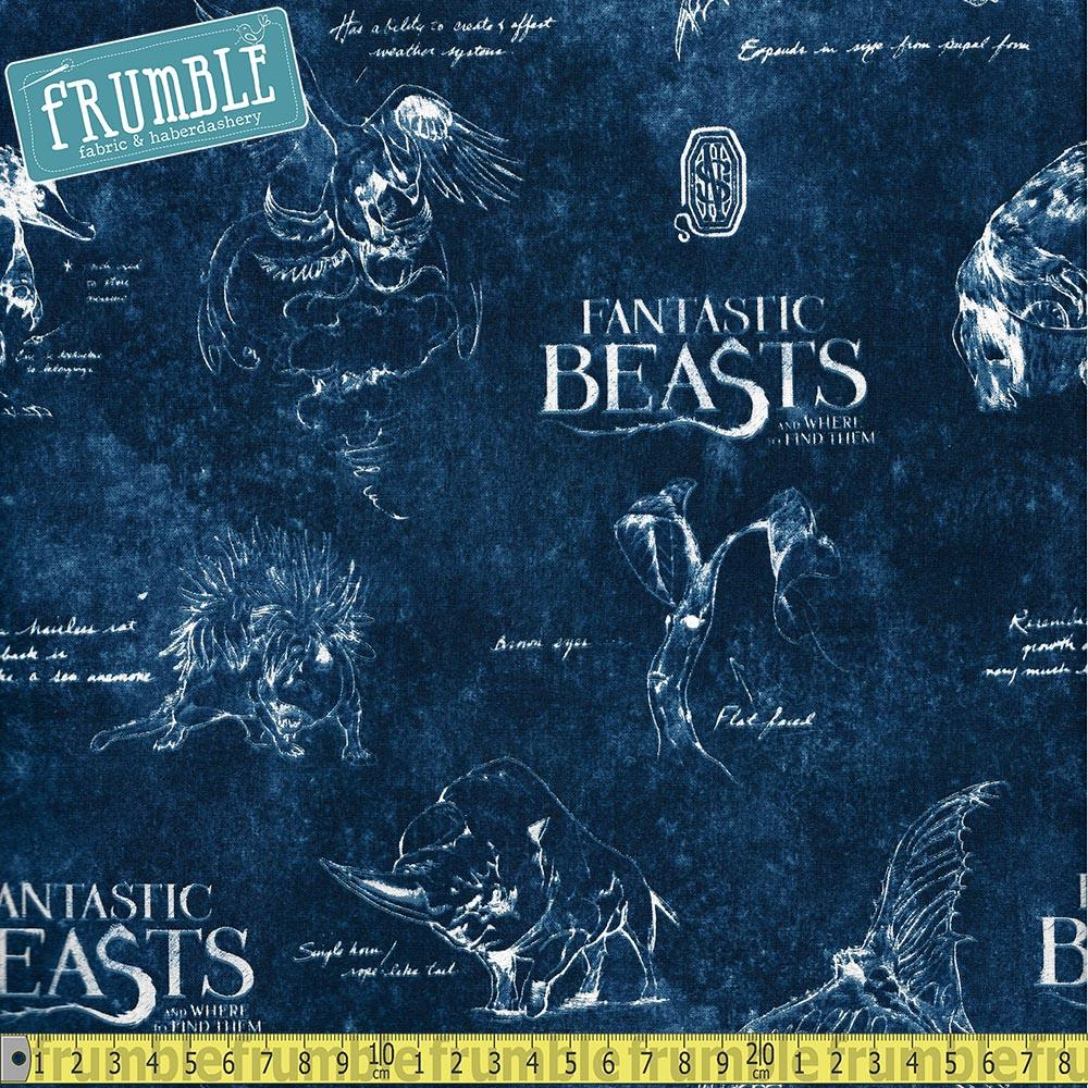Fantastic Beasts Navy Fabric by Camelot