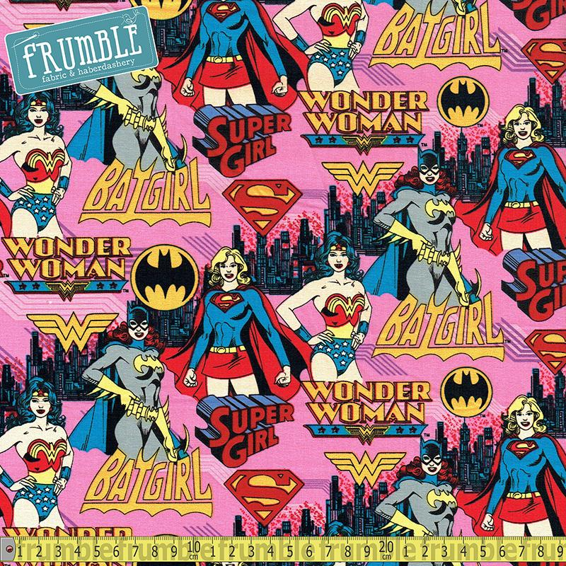 Girl Power DC Heroes Pink Fabric by Camelot