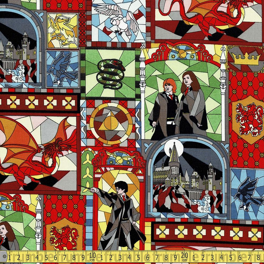 Harry Potter Character Stained Glass Window Fabric by Camelot