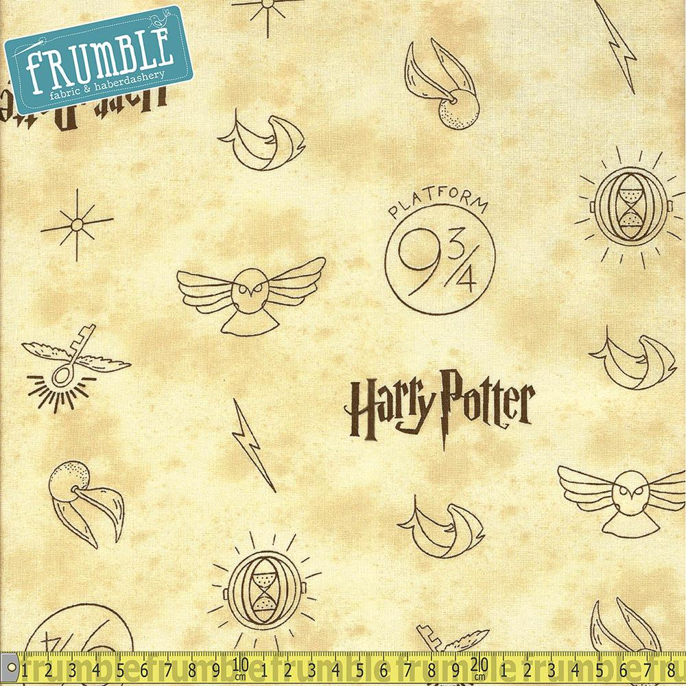 Harry Potter Golden Snitch Multi Fabric by Camelot