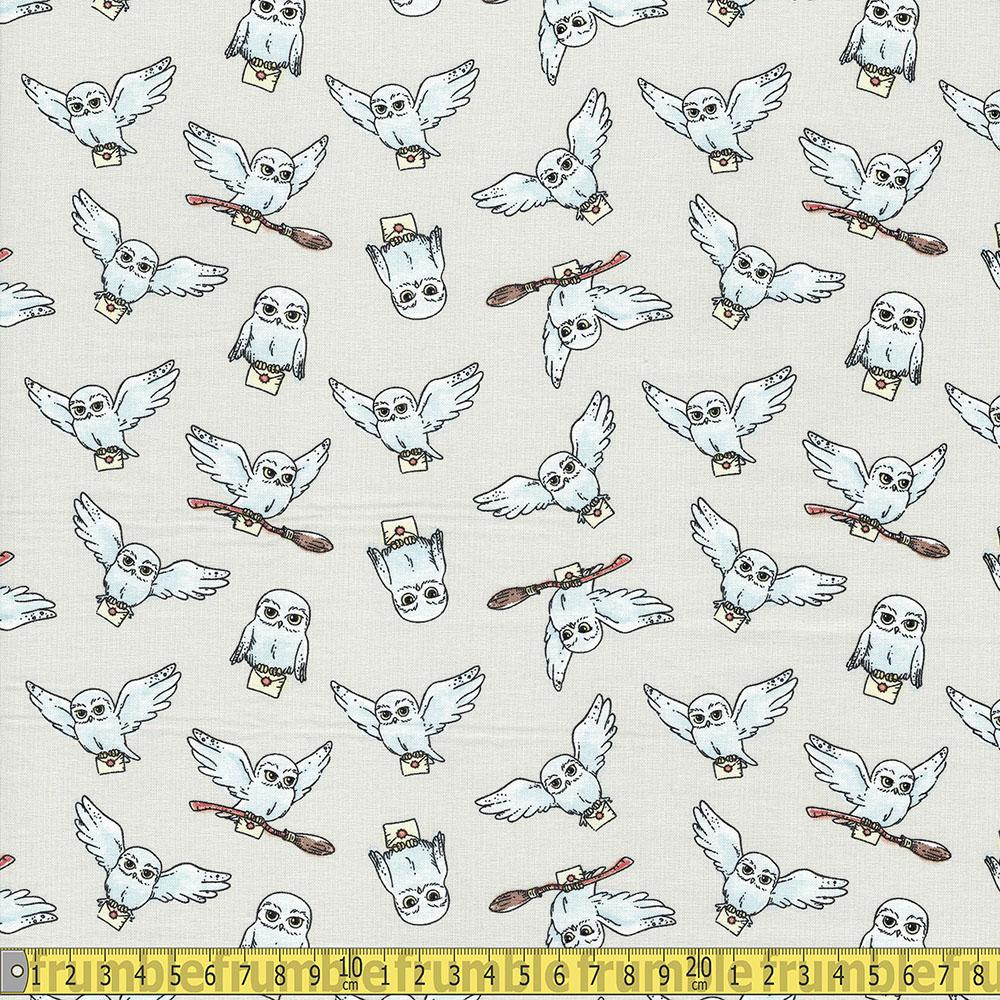 Harry Potter Hedwig Grey Fabric by Camelot