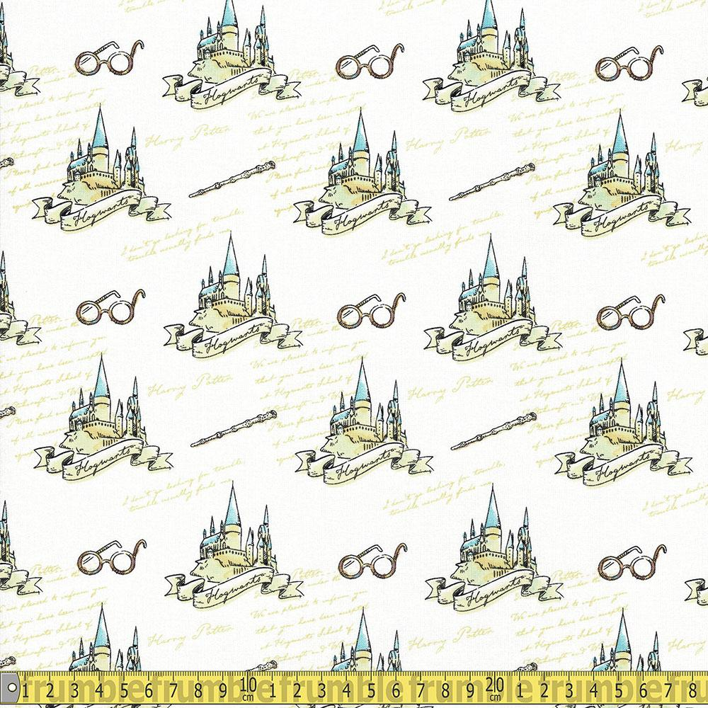Harry Potter Hogwarts White Fabric by Camelot