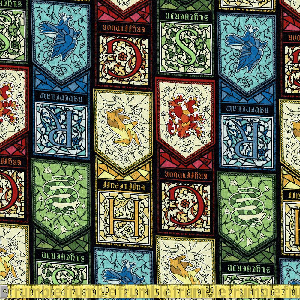 Harry Potter Houses Stained Glass Window Fabric by Camelot
