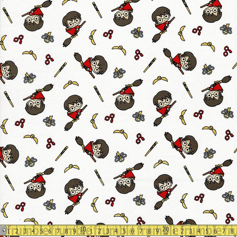 Harry Potter Kawaii Broomstick Multi - Frumble Fabrics
